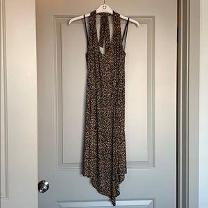 Vintage Leopard-Print Halter Midi Dress